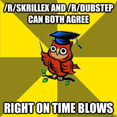/r/Skrillex and /r/dubstep can both agree Right on time blows  Observational Owl