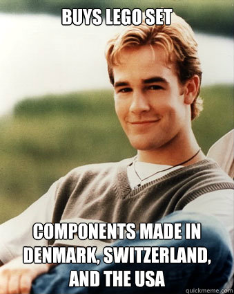 Buys LEGO set Components made in Denmark, Switzerland, and the USA - Buys LEGO set Components made in Denmark, Switzerland, and the USA  Late 90s kid advantages