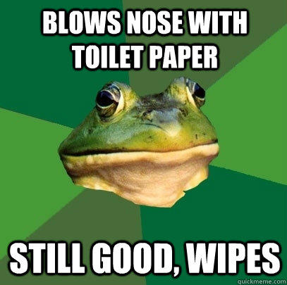 Blows nose with toilet paper still good, wipes - Blows nose with toilet paper still good, wipes  Foul Bachelor Frog