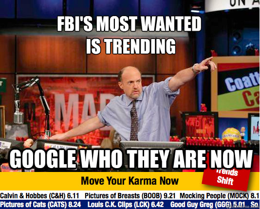 FBI's most wanted  is trending Google who they are now  Mad Karma with Jim Cramer