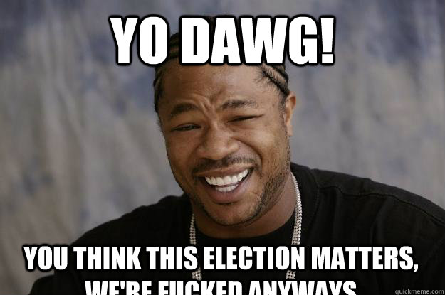 yo dawg! You think this election matters, we're fucked anyways  - yo dawg! You think this election matters, we're fucked anyways   Xzibit meme 2