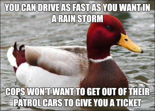 You can drive as fast as you want in a rain storm  Cops won't want to get out of their patrol cars to give you a ticket - You can drive as fast as you want in a rain storm  Cops won't want to get out of their patrol cars to give you a ticket  Malicious Advice Mallard