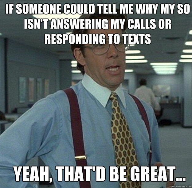 IF SOMEONE COULD TELL ME WHY MY SO ISN'T ANSWERING MY CALLS OR RESPONDING TO TEXTS YEAH, THAT'D BE GREAT...