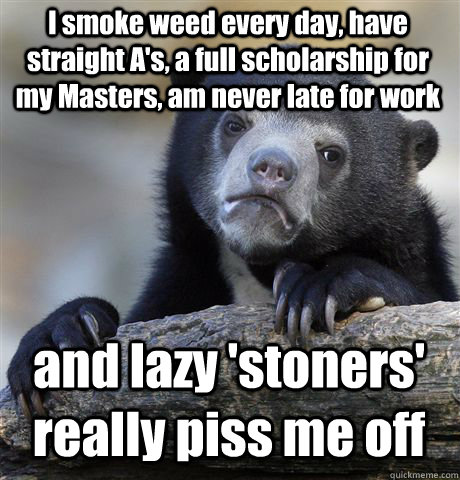 I smoke weed every day, have straight A's, a full scholarship for my Masters, am never late for work and lazy 'stoners' really piss me off - I smoke weed every day, have straight A's, a full scholarship for my Masters, am never late for work and lazy 'stoners' really piss me off  Confession Bear