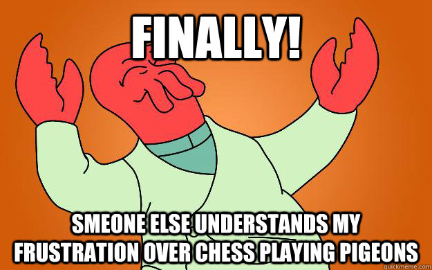 Finally! Smeone else understands my frustration over chess playing pigeons