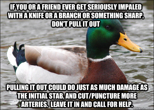 IF YOU OR A FRIEND EVER GET SERIOUSLY IMPALED WITH A KNIFE OR A BRANCH OR SOMETHING SHARP, DON'T PULL IT OUT PULLING IT OUT COULD DO JUST AS MUCH DAMAGE AS THE INITIAL STAB, AND CUT/PUNCTURE MORE ARTERIES.  LEAVE IT IN AND CALL FOR HELP. - IF YOU OR A FRIEND EVER GET SERIOUSLY IMPALED WITH A KNIFE OR A BRANCH OR SOMETHING SHARP, DON'T PULL IT OUT PULLING IT OUT COULD DO JUST AS MUCH DAMAGE AS THE INITIAL STAB, AND CUT/PUNCTURE MORE ARTERIES.  LEAVE IT IN AND CALL FOR HELP.  Actual Advice Mallard