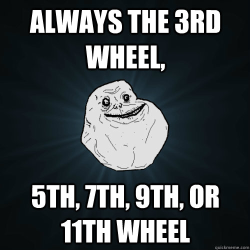 Always the 3rd wheel, 5th, 7th, 9th, or 11th wheel - Always the 3rd wheel, 5th, 7th, 9th, or 11th wheel  Forever Alone