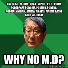 M.A., M.Sc., M.Com., M.B.A., M.Phil., Ph.D., PGDM, PGDEDPCM, PGDORM, PGDHRD, PGDTRG, PGDRMLMNNIPM, AMIMA, AMAESI, AMIBM, AASM, AMID, AGI(USA) Why no M.D?