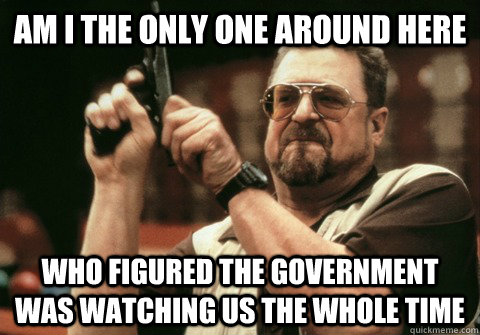Am I the only one around here who figured the government was watching us the whole time - Am I the only one around here who figured the government was watching us the whole time  Am I the only one