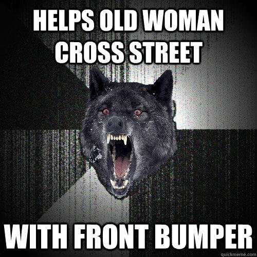 Helps old woman cross street With front bumper - Helps old woman cross street With front bumper  Insanity Wolf