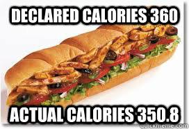 declared calories 360 actual calories 350.8