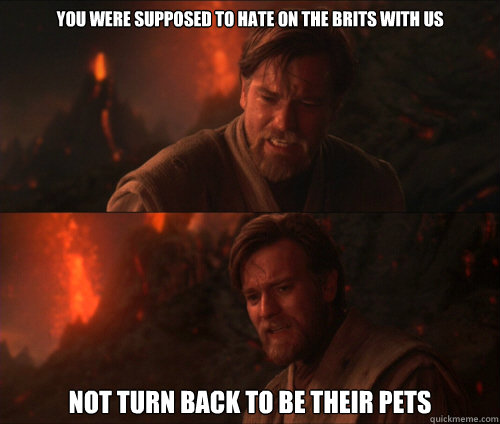 You were supposed to hate on the Brits with us Not turn back to be their pets