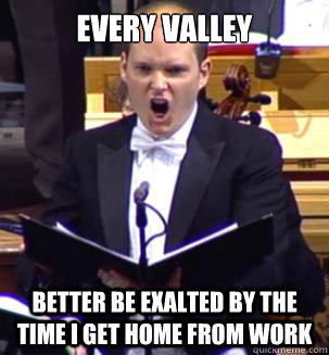 EVERY VALLEY                                               BETTER BE EXALTED BY THE TIME I GET HOME FROM WORK - EVERY VALLEY                                               BETTER BE EXALTED BY THE TIME I GET HOME FROM WORK  ANGRY OPERA MAN