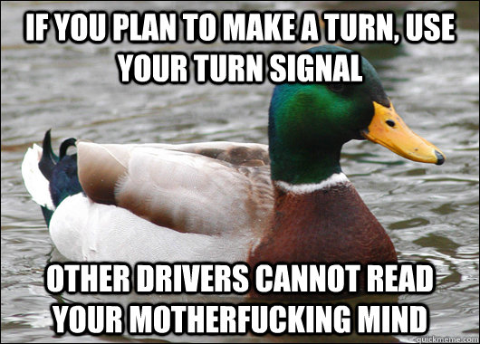 If you plan to make a turn, use your turn signal other drivers cannot read your motherfucking mind - If you plan to make a turn, use your turn signal other drivers cannot read your motherfucking mind  Actual Advice Mallard