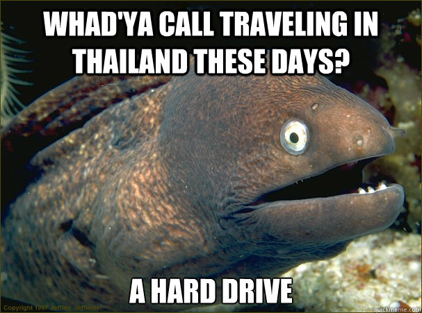 Whad'ya call traveling in thailand these days? A hard drive - Whad'ya call traveling in thailand these days? A hard drive  Bad Joke Eel
