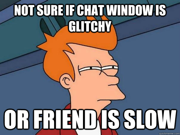 Not sure if chat window is glitchy Or friend is slow