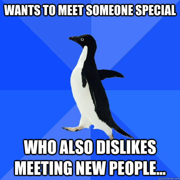 wants to meet someone special who also dislikes meeting new people... - wants to meet someone special who also dislikes meeting new people...  Socially Awkward Penguin