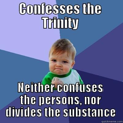 Athanasian Creed - CONFESSES THE TRINITY NEITHER CONFUSES THE PERSONS, NOR DIVIDES THE SUBSTANCE Success Kid