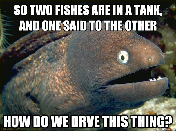 So two fishes are in a tank, and one said to the other how do we drve this thing? - So two fishes are in a tank, and one said to the other how do we drve this thing?  Bad Joke Eel