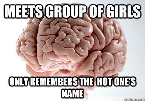 Meets group of girls Only remembers the  hot one's name - Meets group of girls Only remembers the  hot one's name  Scumbag Brain