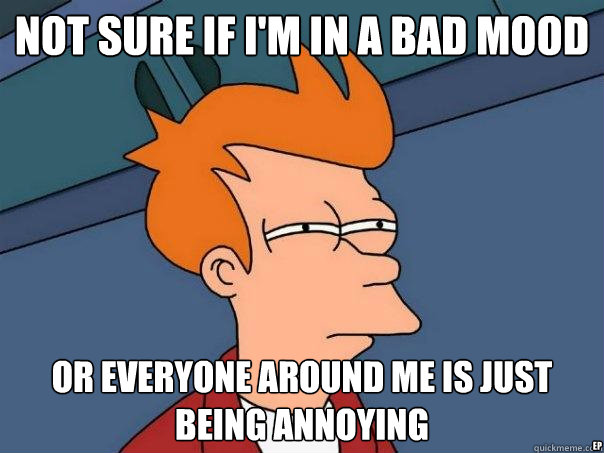 not sure if i'm in a bad mood Or everyone around me is just being annoying ep  Futurama Fry