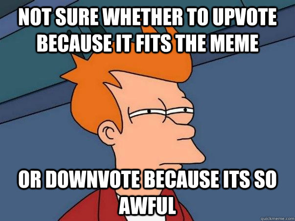 Not sure whether to upvote because it fits the meme or downvote because its so awful - Not sure whether to upvote because it fits the meme or downvote because its so awful  Not sure Fry