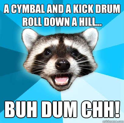 A Cymbal and a kick drum roll down a hill... BUH DUM CHH! - A Cymbal and a kick drum roll down a hill... BUH DUM CHH!  Lame Pun Coon