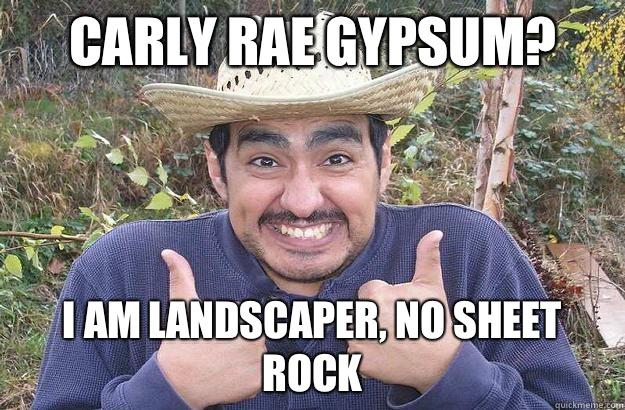 Carly rae gypsum? i am landscaper, no sheet rock