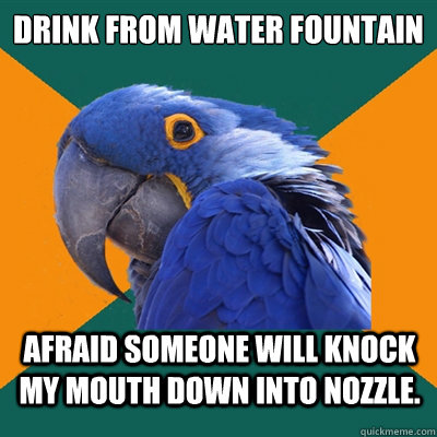 drink from water fountain afraid someone will knock my mouth down into nozzle. - drink from water fountain afraid someone will knock my mouth down into nozzle.  Paranoid Parrot