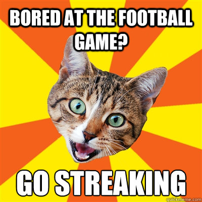 Bored at the football game? go streaking - Bored at the football game? go streaking  Bad Advice Cat