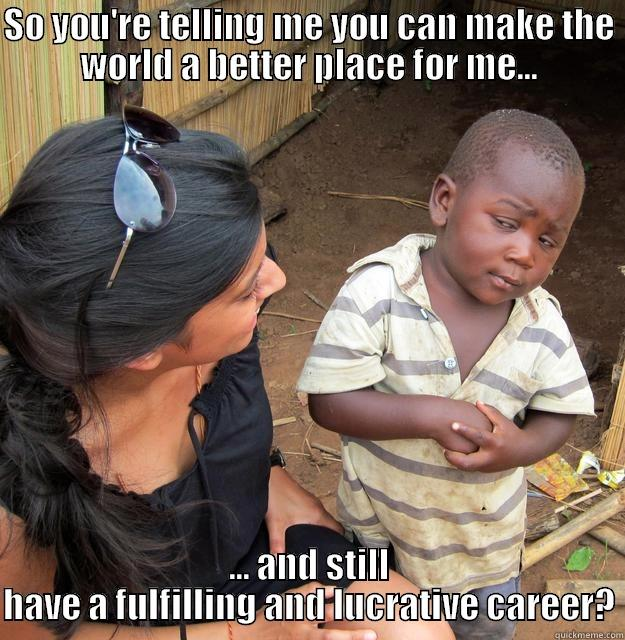 Net Impact - SO YOU'RE TELLING ME YOU CAN MAKE THE WORLD A BETTER PLACE FOR ME... ... AND STILL HAVE A FULFILLING AND LUCRATIVE CAREER? Skeptical Third World Child
