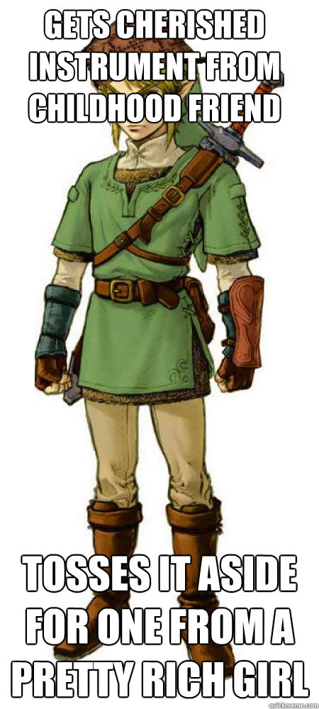 Gets cherished Instrument from childhood friend Tosses it aside for one from a pretty rich girl  Scumbag Link
