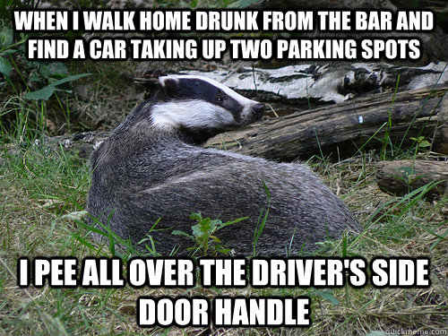 When I walk home drunk from the bar and find a car taking up two parking spots i pee all over the driver's side door handle - When I walk home drunk from the bar and find a car taking up two parking spots i pee all over the driver's side door handle  Bastard Badger