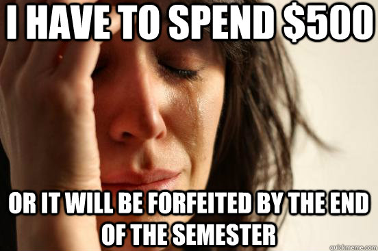 I have to spend $500 Or it will be forfeited by the end of the semester - I have to spend $500 Or it will be forfeited by the end of the semester  First World Problems
