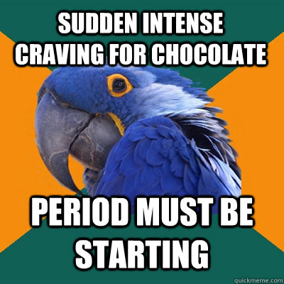 Sudden intense craving for chocolate Period must be starting - Sudden intense craving for chocolate Period must be starting  Paranoid Parrot