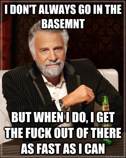 I dOn't always go in the basemnt but when I do, I get the fuck out of there as fast as I can - I dOn't always go in the basemnt but when I do, I get the fuck out of there as fast as I can  The Most Interesting Man In The World