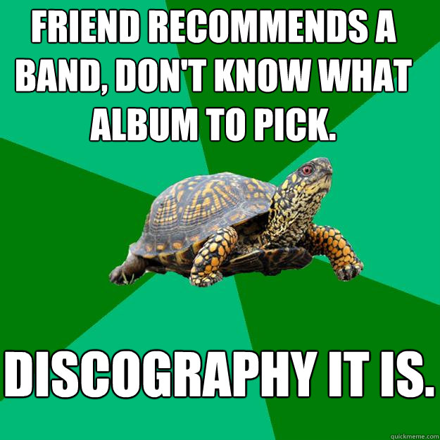 Friend recommends a band, don't know what album to pick. discography it is.  Torrenting Turtle