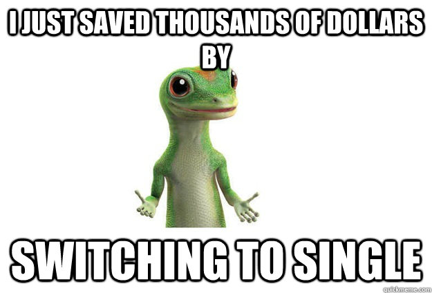 I JUST saved thousands of dollars by switching to single  Geico Gecko