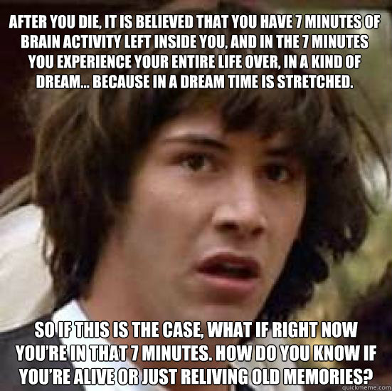 After you die, it is believed that you have 7 minutes of brain activity left inside you, and in the 7 minutes you experience your entire life over, in a kind of dream… Because in a dream time is stretched. So if this is the case, what if right now y - After you die, it is believed that you have 7 minutes of brain activity left inside you, and in the 7 minutes you experience your entire life over, in a kind of dream… Because in a dream time is stretched. So if this is the case, what if right now y  conspiracy keanu