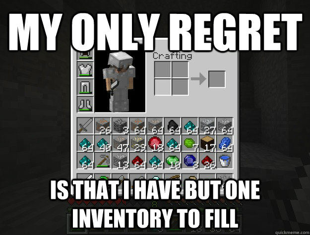 my only regret is that I have but one inventory to fill - my only regret is that I have but one inventory to fill  Misc