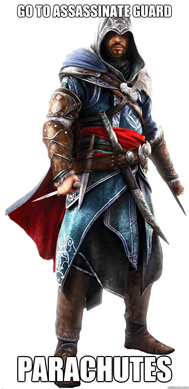 GO TO ASSASSINATE GUARD PARACHUTES  Assassins Creed Ezio