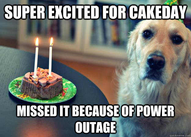 Super excited for cakeday missed it because of power outage - Super excited for cakeday missed it because of power outage  Sad Birthday Dog