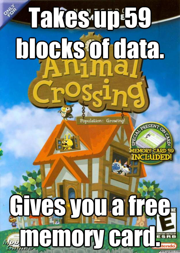 Takes up 59 blocks of data. Gives you a free memory card. - Takes up 59 blocks of data. Gives you a free memory card.  Misc