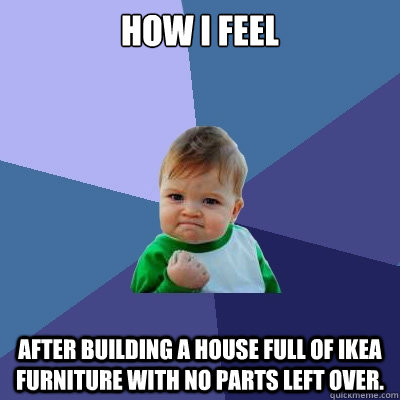 How I feel after building a house full of ikea furniture with no parts left over.  - How I feel after building a house full of ikea furniture with no parts left over.   Success Kid