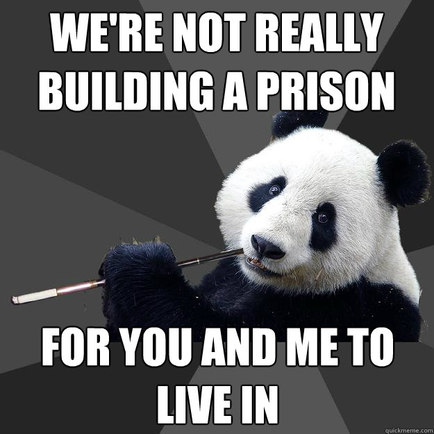 we're not really building a prison for you and me to live in