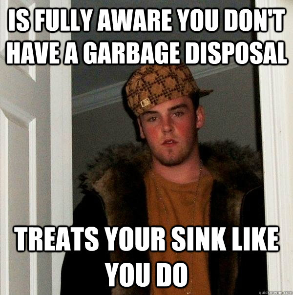 is fully aware you don't have a garbage disposal treats your sink like you do - is fully aware you don't have a garbage disposal treats your sink like you do  Scumbag Steve