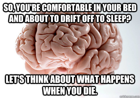 So, you're comfortable in your bed and about to drift off to sleep? Let's think about what happens when you die. - So, you're comfortable in your bed and about to drift off to sleep? Let's think about what happens when you die.  Scumbag Brain