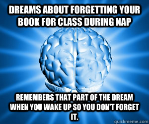 Dreams about forgetting your book for class during nap Remembers that part of the dream when you wake up so you don't forget it.
