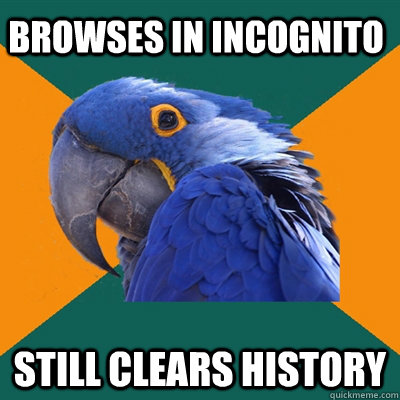 Browses in incognito still clears history - Browses in incognito still clears history  Paranoid Parrot