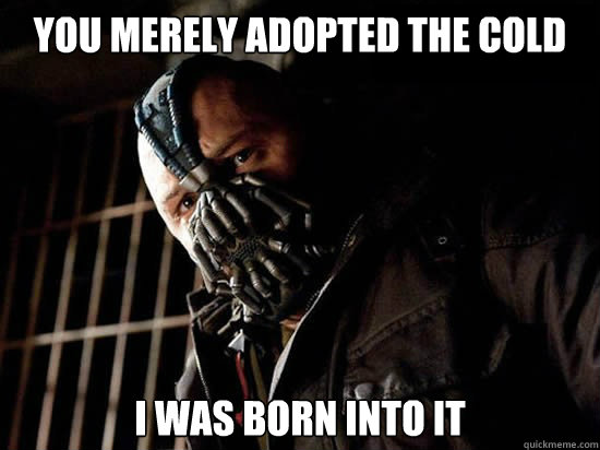 You merely adopted the cold I was born into it - You merely adopted the cold I was born into it  Condescending Bane